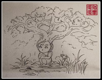 树精灵——送给雨树的生日贺图