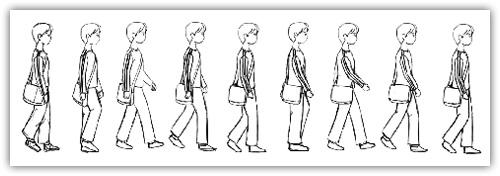 人物走路分解简笔画